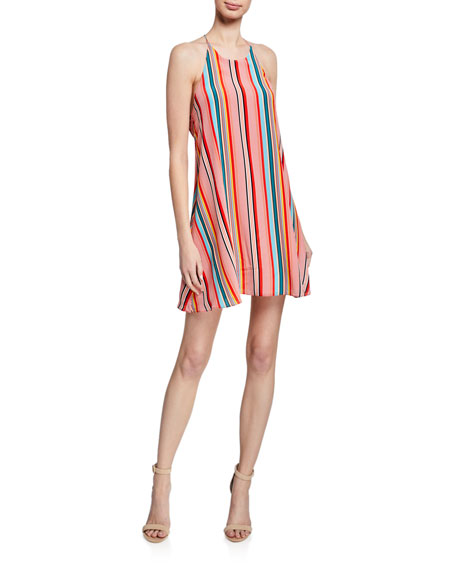 Alice + Olivia Kalia Striped Halter Tie-Back Mini Dress