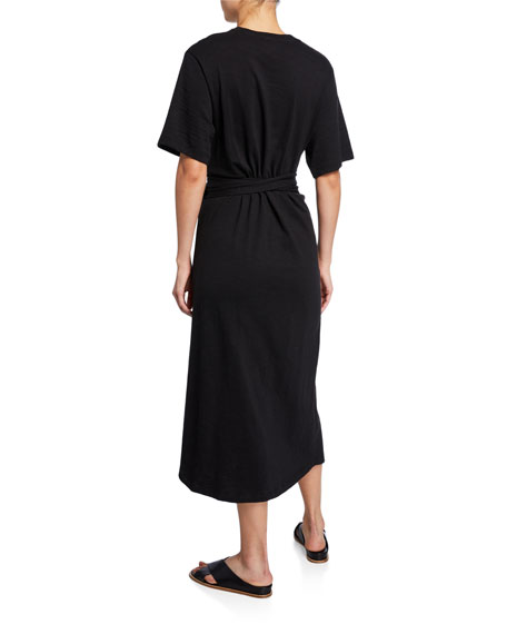 Vince Cotton Tie-Waist Midi Wrap Dress