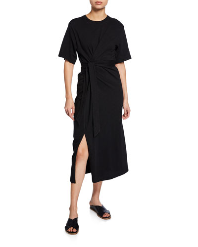 Cotton Tie-Waist Midi Wrap Dress
