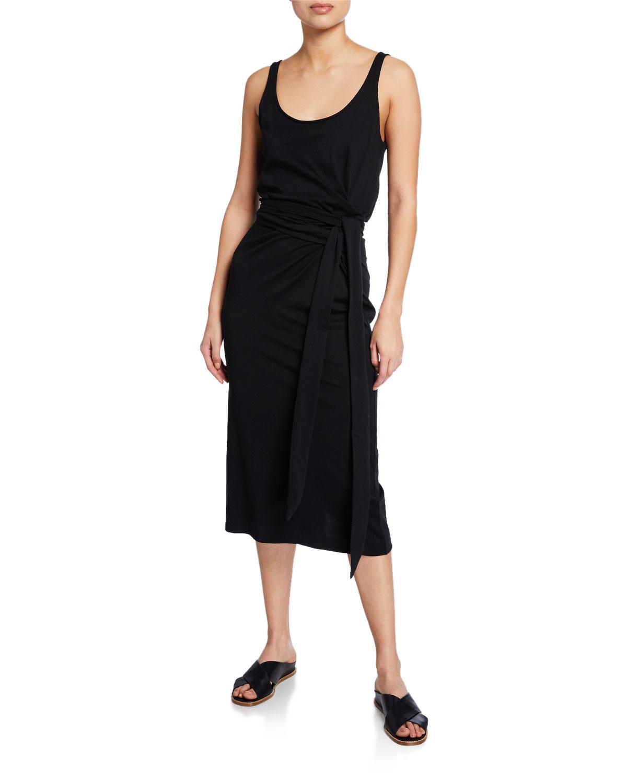 Vince Scoop Neck Sleeveless Wrap Dress Neiman Marcus
