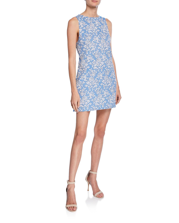 f7bf2a347b Alice + Olivia Clyde Floral-Print Sleeveless Mini Shift Dress ...