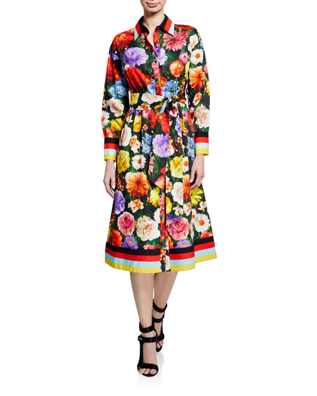 Alice + Olivia Hiroko Blouson-Sleeve Shirt Dress