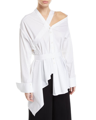 Heathers Off-Shoulder Asymmetric Long Sleeve Blouse
