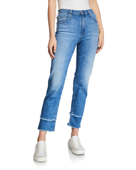 AG The Isabelle High-Rise Straight Crop Jeans with Tiered Hem