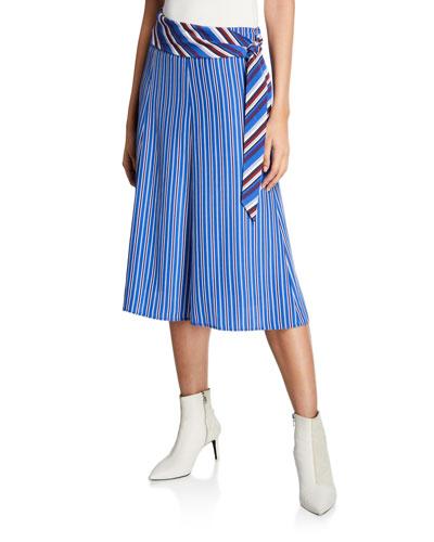 Felix Striped Belted Midi Skirt