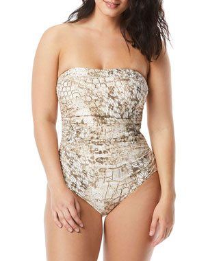 91eed461a15 Coco Contours by Coco Reef Embellished Printed Bandeau One-Piece Swimsuit