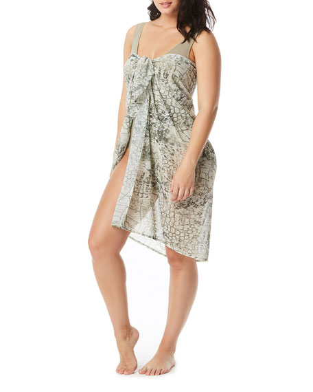 Coco Contours by Coco Reef Animal-Print Chiffon Sarong Coverup