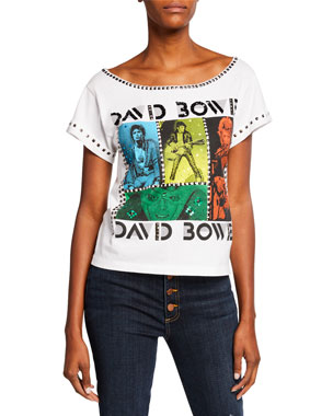 23dd30bd ALICE + OLIVIA JEANS Mikey David Bowie Embellished Wide-Neck Tee with Studs