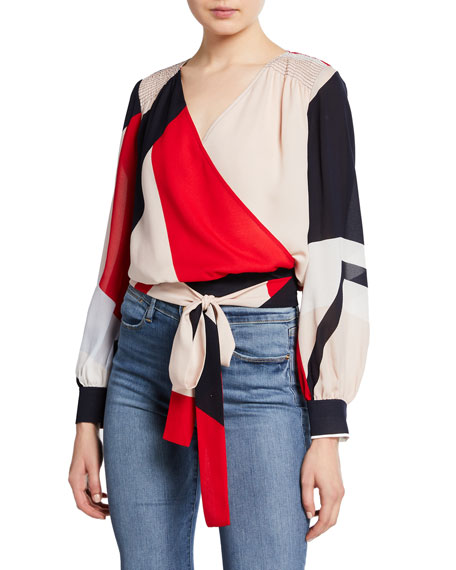 Tanya Taylor Klara Colorblock Long-Sleeve Wrap Top