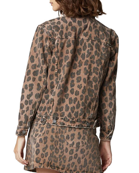 Blank NYC Catwalk Leopard-Print Denim Trucker Jacket