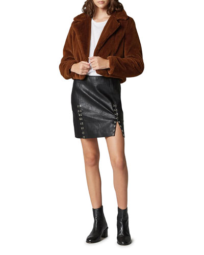 Cropped Faux-Fur Open-Front Jacket