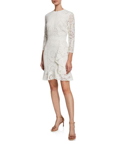 Shoshanna Abella 3/4-Sleeve Asymmetric Ruffle Lace Dress
