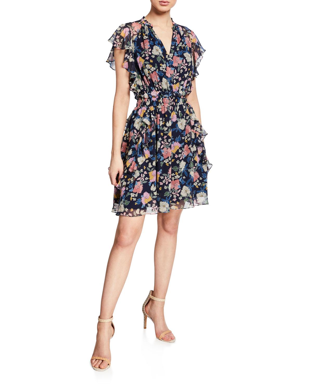 ecbca24a456 Shoshanna Venezia Floral-Print Ruffled Silk Dress