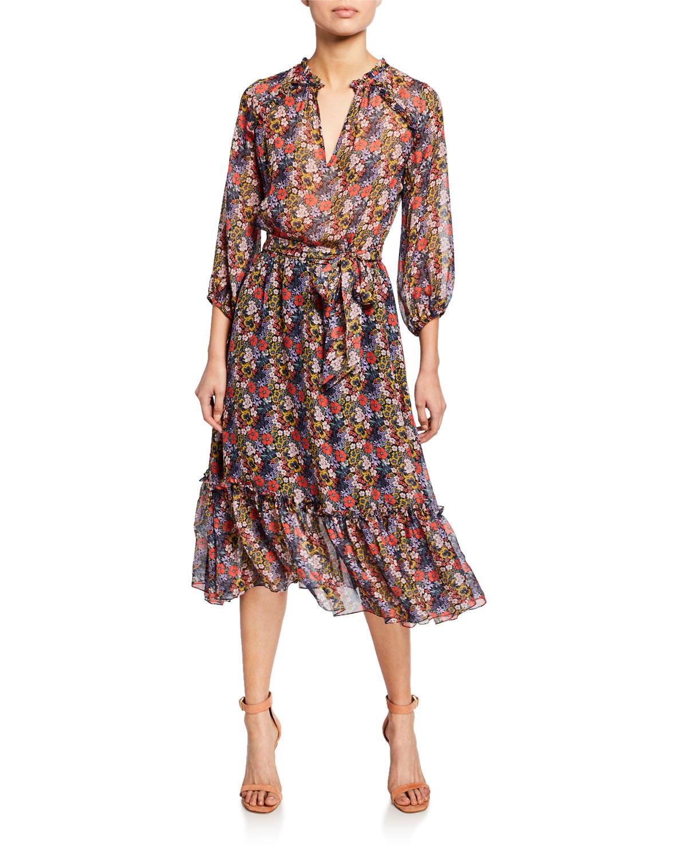 69d96a2a4fca Shoshanna Soria Floral-Print 3 4-Sleeve Midi Dress