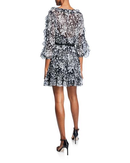 Shoshanna Praiano Floral-Print V-Neck Ruffle-Trim Mini Dress