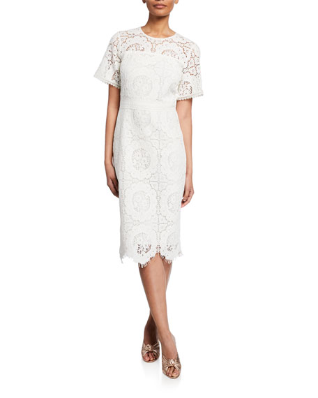 Shoshanna Marmande Short-Sleeve Scallop Lace Dress