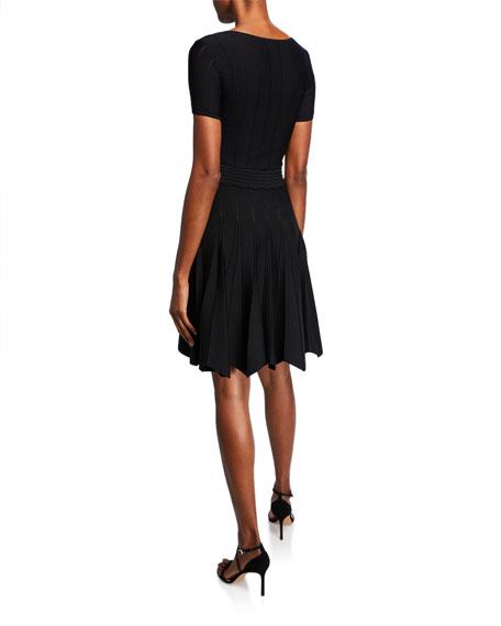 Shoshanna Jonetta Scoop-Neck Textured-Knit Fit-and-Flare Dress