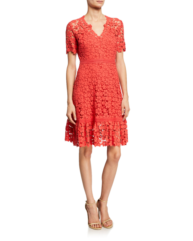 9aab58d77f50f5 Shoshanna Toscana Floral Lace A-Line Dress   Neiman Marcus