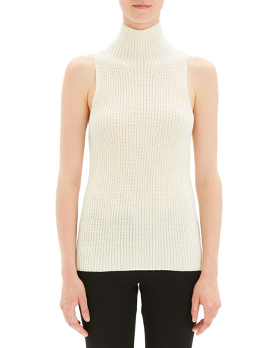 Plaited Sleeveless Knit Turtleneck Sweater