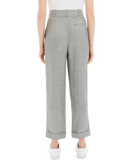 Theory Fluid Melange Straight Cuffed Pants