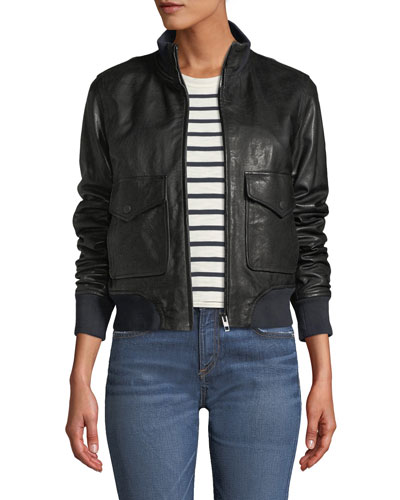 Mila Zip-Front Leather Jacket