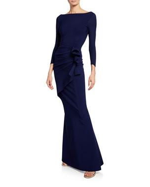 ba1eee12eb5d Chiara Boni La Petite Robe Zelma Side-Draped Mermaid Gown