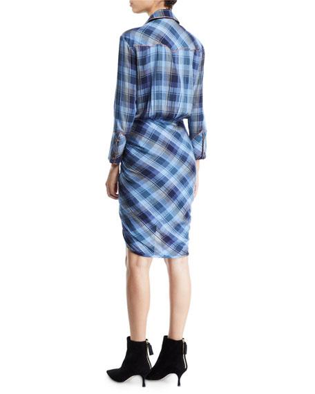 Veronica Beard Sierra Gathered Plaid Button-Front Shirtdress