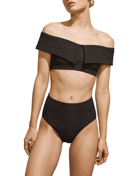 Amaio Swim Jolie Off-Shoulder Jacquard Bikini Top