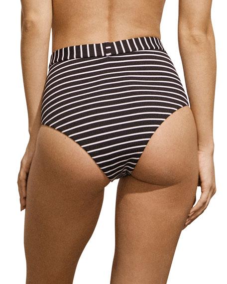Amaio Swim Fleur Belted Striped High-Waist Bikini Bottom