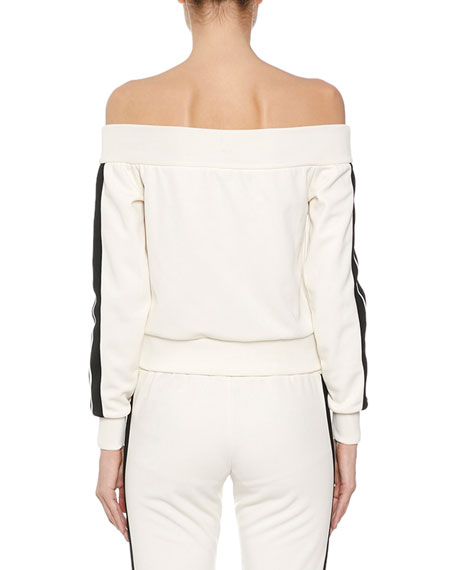 Palm Angels Off-Shoulder Striped Zip-Front Track Jacket