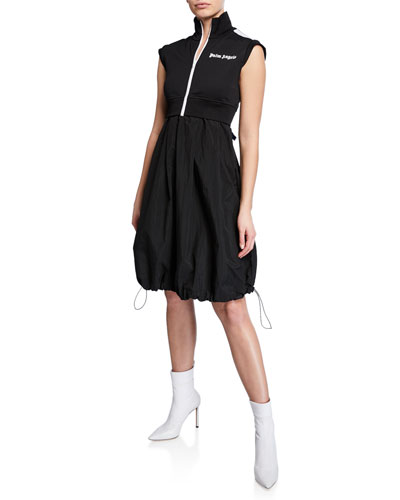 Mix Track Sleeveless High-Neck Dress