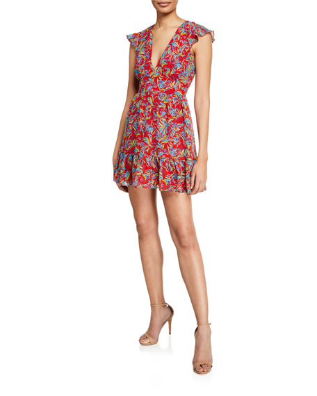 Saloni Pia Printed V-Neck Flounce Short Dress