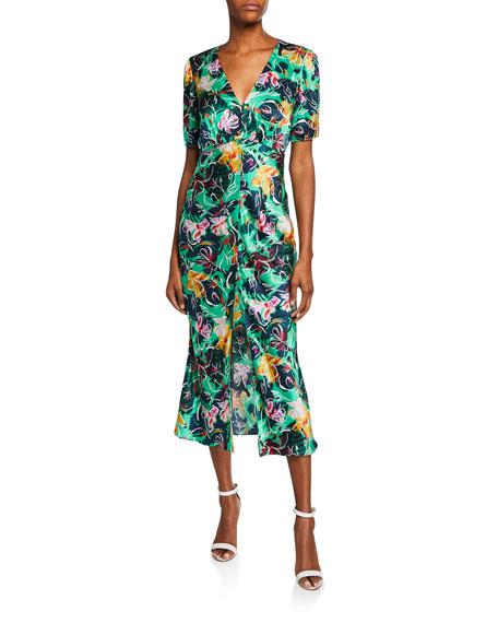 Saloni Eden Front-Slit Silk Floral Midi Dress