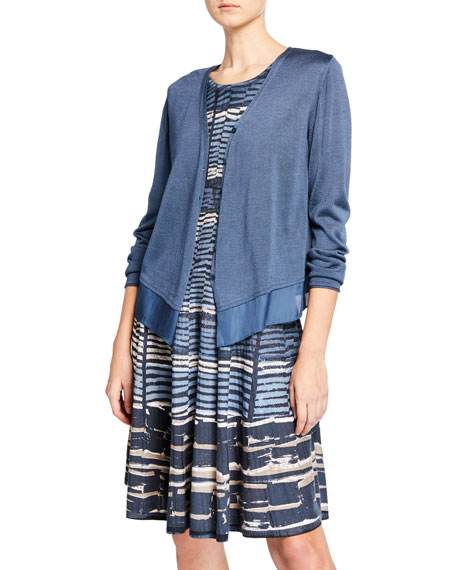 NIC+ZOE Petite Easy Flow Button-Front Cardigan with Chiffon Hem