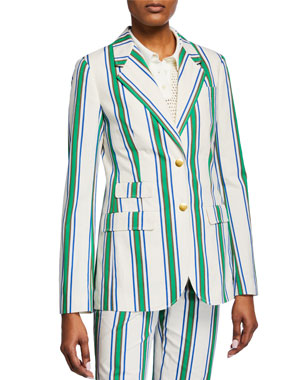 d67ec11aee5ee Tory Burch Striped Two-Button Cotton Blazer