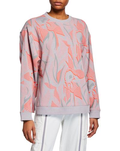 Floral Print Sweatshirt w/ Zippers