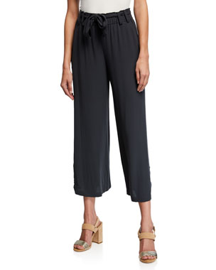 aaac5845ef6e8 Eileen Fisher Cropped Belted Wide-Leg Silk Crepe Pants