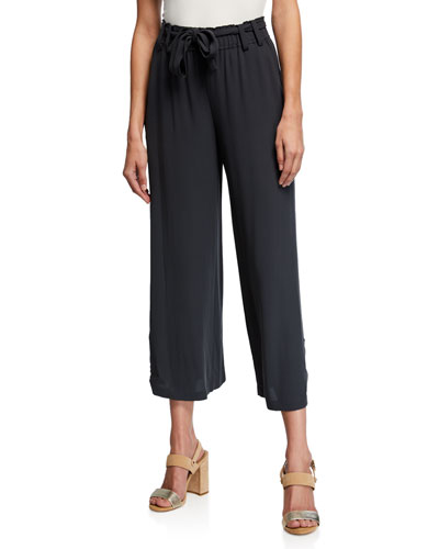 Cropped Belted Wide-Leg Silk Crepe Pants