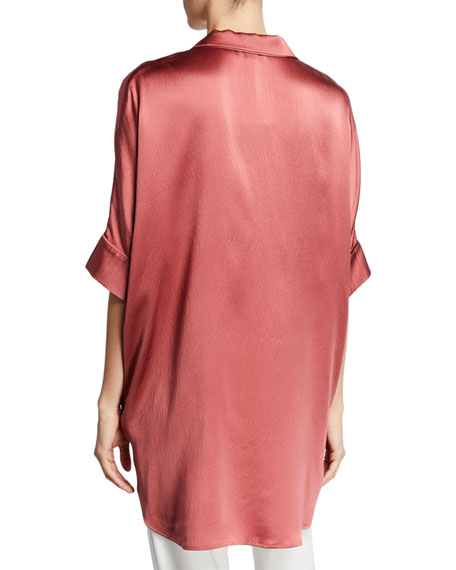 Eileen Fisher Plus Size Hammered Silk Button-Front Elbow-Sleeve Shirt