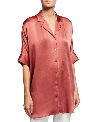Plus Size Hammered Silk Button-Front Elbow-Sleeve Shirt
