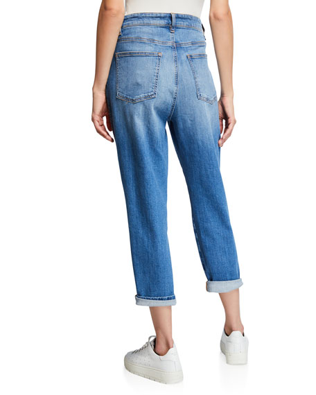 Eileen Fisher Plus Size Organic Cotton Denim Tapered Ankle Jeans
