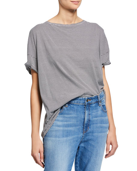 Eileen Fisher Plus Size Mini-Stripe Bateau-Neck Short-Sleeve Tee