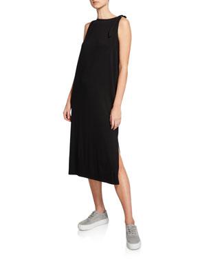 a0fc972683bb Eileen Fisher Tie-Shoulder Long Jersey Tank Dress