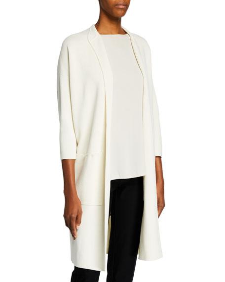 Eileen Fisher Petite Long High-Collar Open-Front Interlock Jacket
