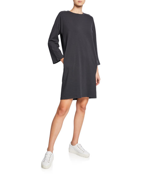 Eileen Fisher Petite Crewneck Bracelet-Sleeve Jersey Dress