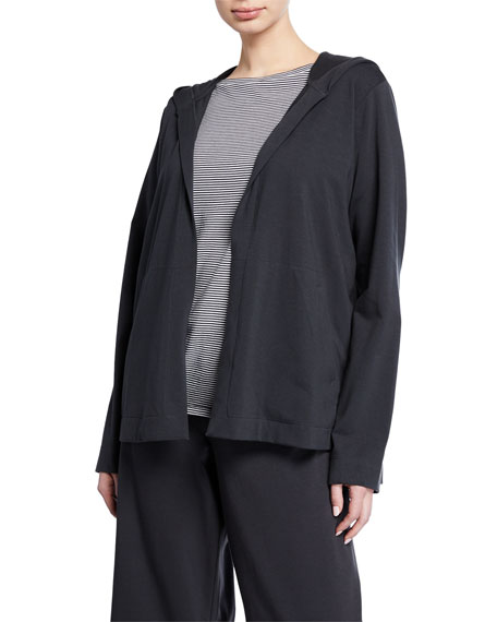 Eileen Fisher Petite Stretch Jersey Hooded Jacket