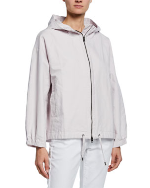 4581ac36f48 Eileen Fisher Sueded Canvas Hooded Jacket