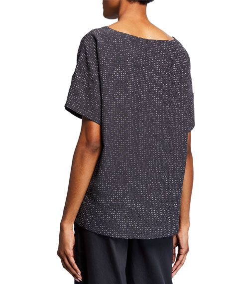 Eileen Fisher Petite Morse Code Boat-Neck Short-Sleeve Top