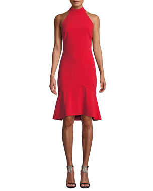 0930de0d2f Badgley Mischka Collection Halter-Neck Cocktail Dress with Flounce Hem