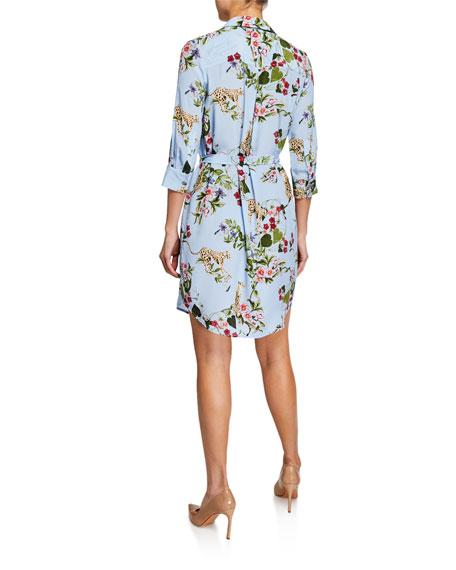 L'Agence Stella Printed 3/4-Sleeve Silk Shirt Dress